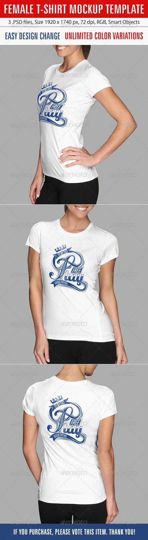 Scalable t shirt mockups more info - Buy Female T Shirt Mockup Template By Grapulo On Graphicriver Female T Shirt Mockup 3 Psd File Easy Design And Color Change Unlimited Colours Smart
