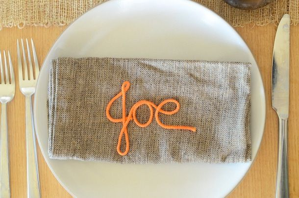 Use paracord and Mod Podge to make monogrammed table linens.