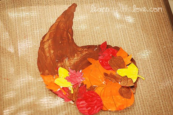 Cornucopia Craft w/ Printables included. Thanksgiving craft for kids.- Did this with watercolors in EHS
