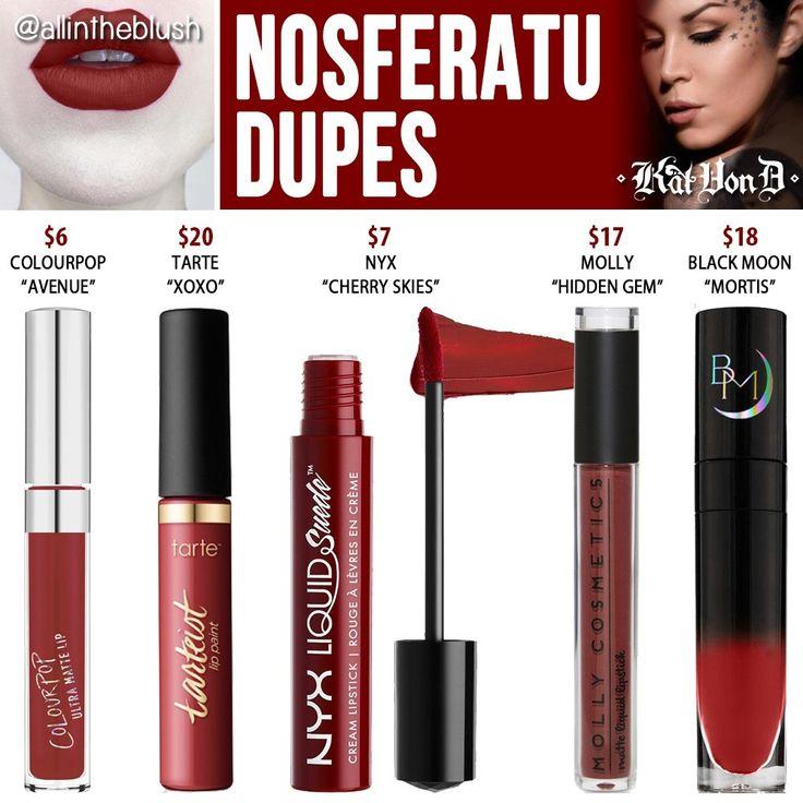 Kat Von D Nosferatu Everlasting Liquid Lipstick Dupes