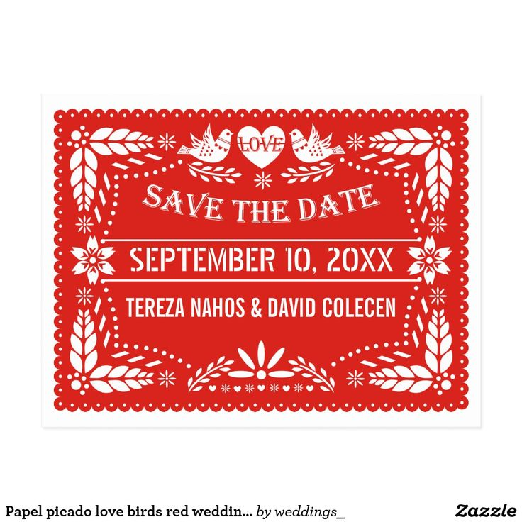 Papel picado love birds red wedding Save the Date Postcard Papel picado love birds red wedding Save the Date postcard featuring two love birds and a love heart with the word love as well as flowers, leaves and small dots. This nature inspired Mexican folk art style floral wedding template design is part of a wedding set or collection and is completely customizable. Note that this is not really laser cut paper just printed images. Colors: red and white