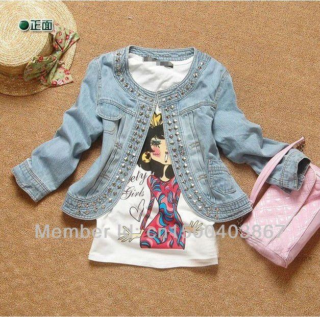 la mujer pantalones vaqueros chaqueta de manga larga casual con remache de color azul al por menor venta al por mayor envo gratis 1 pcs