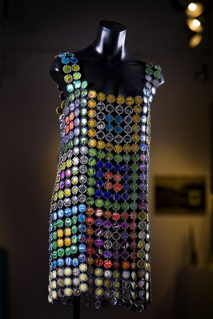 "Remi Rubel ~ ""Bottle Cap Dress"" (1991) created while she was in The Artist in Residence Program at Recology San Francisco 