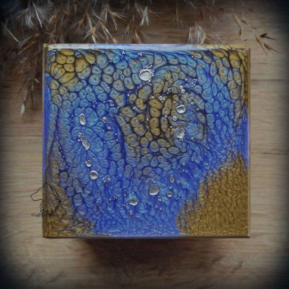 Ocean Blue wooden box hand painted galaxy jewelry box witch