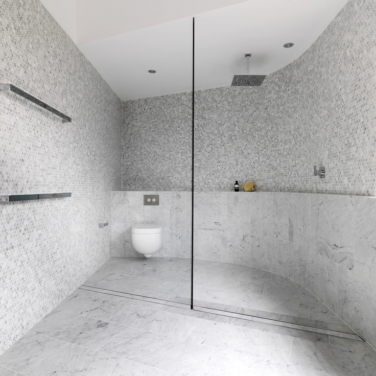 Small Gray And White Octagonal Wall Tiles With Very Large Gray Veined  Marble Floor Tiles