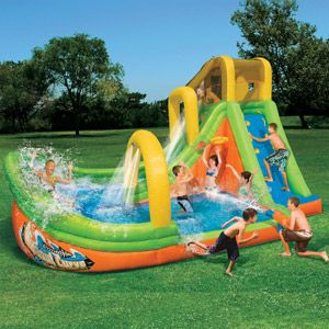 Banzai Wipeout Curve Inflatable Water Slide Park....The kids will be napping because I will dominate this