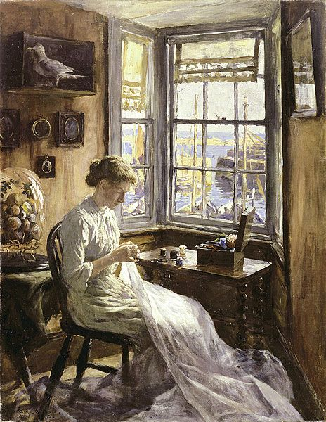 The Harbour Window 1910 by Stanhope Forbes (1857-1947)