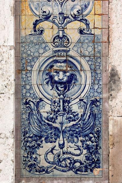 Azulejo (céramiques bleues) in Lisbonnne, Portugal