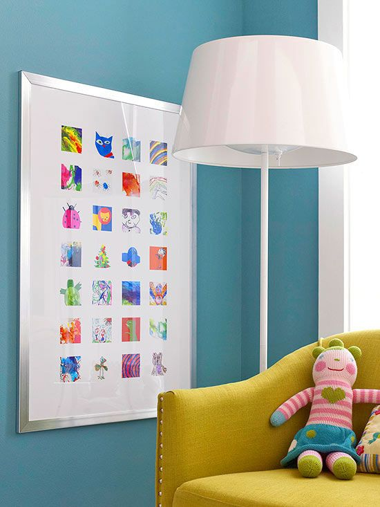 Can't choose just one of your child's craft projects to show off? Put them all on display in a poster frame. Scan art pieces, then import them into an image-editing program. Crop and shrink art to desired size, then place the images in a gridded layout. Take the file to a print shop and request a poster-size print to frame and hang. Scan art each year and replace the prints to create a playful annual keepsake./