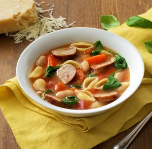 Sweet Italian Chicken Sausage and Pasta Soup