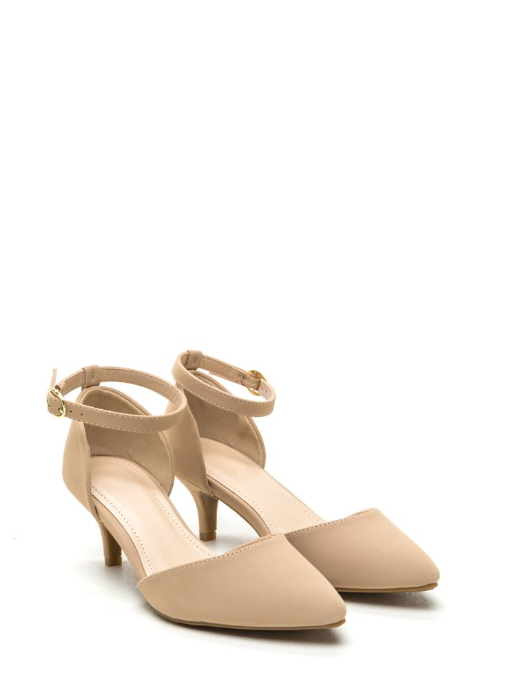 Point Person Faux Nubuck Kitten Heels NUDE. 2.25 inches high.