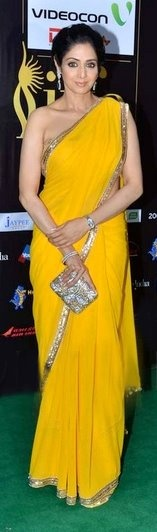 Sridevi rolls back the years in a yellow saree with touch of gold!