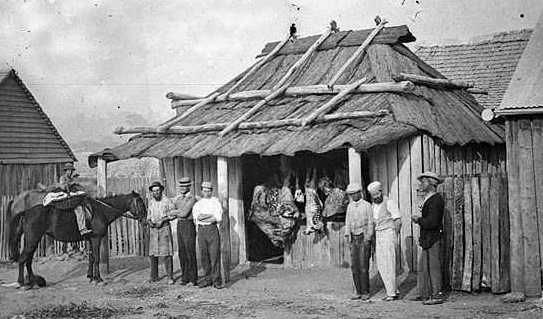 Early settlers homes and bush huts in Australia.
