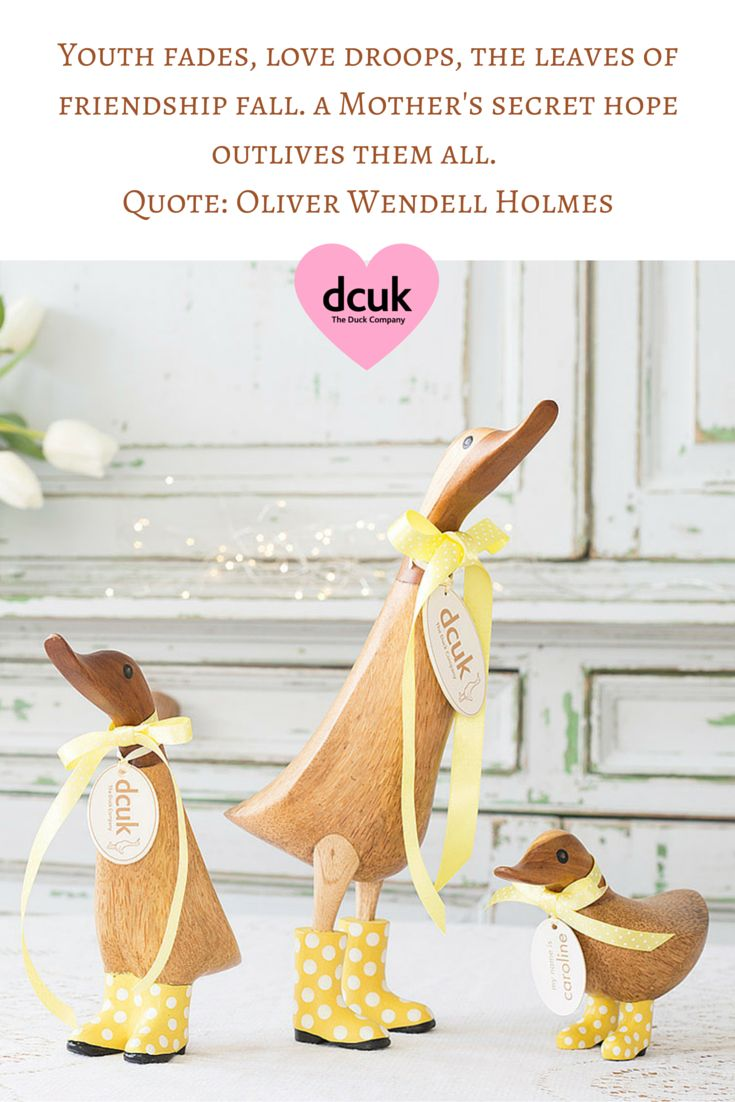 Youth fades, love droops, the leaves of friendship fall. A Mother's Secret hope outlives them all. Lovely quote for Mother's Day! Our natural finish ducks make a lovely gift for Mother's Day too! Available in 3 sizes and a range of poses. View more lovely gift ideas on our website The Duck Company, DCUK