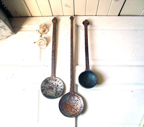 Vintage Metal Rustic Cooking Utensils Large by WillowsEndCottage