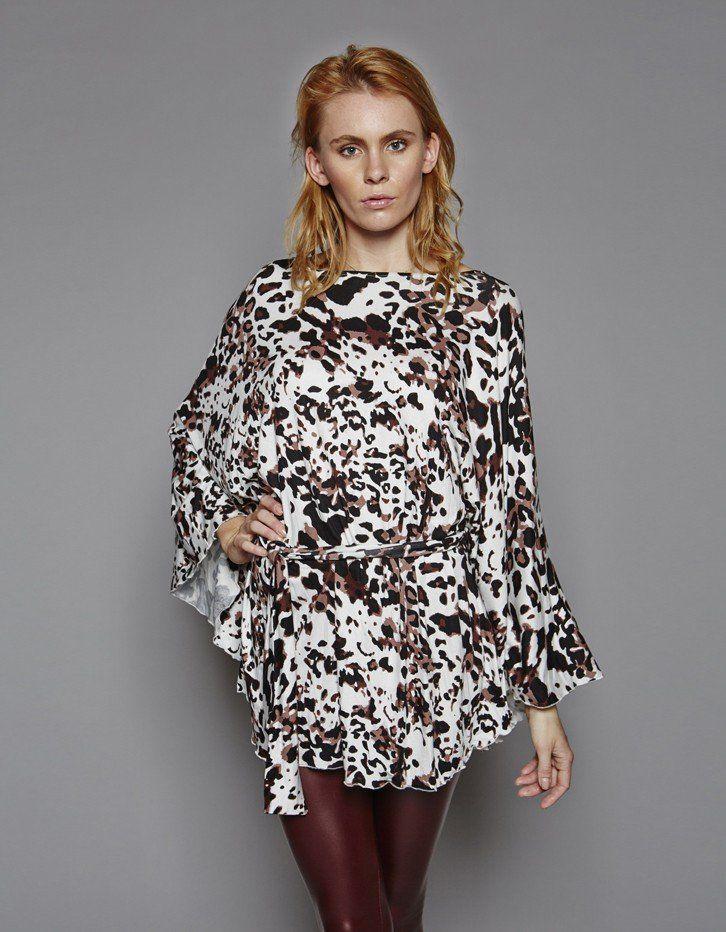 Snow Leopard Print Kimono Top