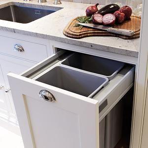 Tom Howley - kitchens - hidden garbage can, hidden garbage cabinet, pull out garbage can, garbage can cabinet, white kitchen cabinets, granite countertops,