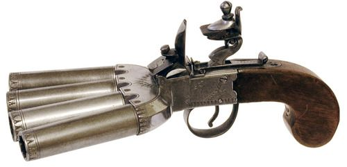 katbatscatbrat:  I would love to have this vicfangirlguide: A duck's foot pistol. The duck's foot pistol was a type of hand-held volley gun which was in wide use throughout the 19th century and into the early 20th century. It acquired its name in reference to the splayed arrangement of its multiple barrels. Its design allowed the user to cover a sizeable area with only a single shot. It was ideal for use by an individual confronting a group and so was popular amongst bank guards, prison ...