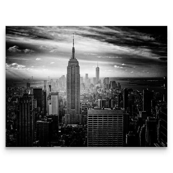 New York City Skyline Black And White Art Empire State Building Modern Decor New York Gifts Fine Art Prints Canvas Wall Art Fine Art