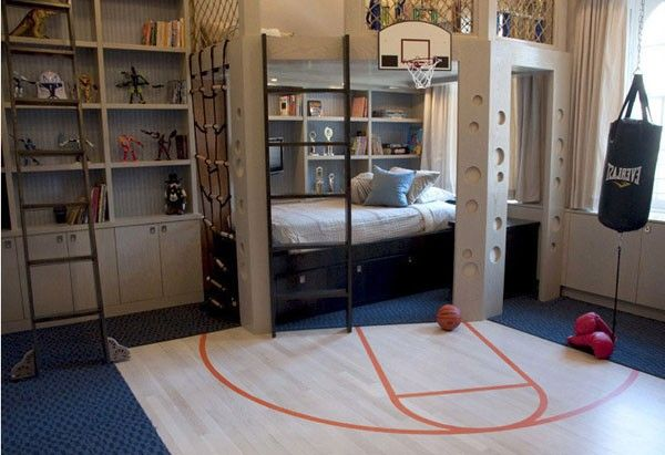 This design may seem quite extreme, all activities that all men may not be able to do it available in this room. You'll find a cliff-shaped wall to wall climbing, mini basketball court and punching bag. Compact design demanded by the limited room area. Some wall sides in this room filled with shelves of textbooks as well as storage for miniature superheroes collection.