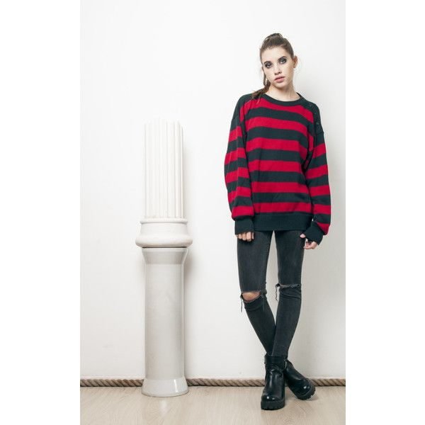 Pop Sick Vintage 90s Vintage Grunge Striped Knit Jumper ($29) ❤ liked on Polyvore featuring plus size women's fashion, plus size clothing, plus size tops, plus size sweaters, multicolour, vintage sweaters, grunge sweaters, colorful sweaters, multi colored striped sweater and vintage knit sweater