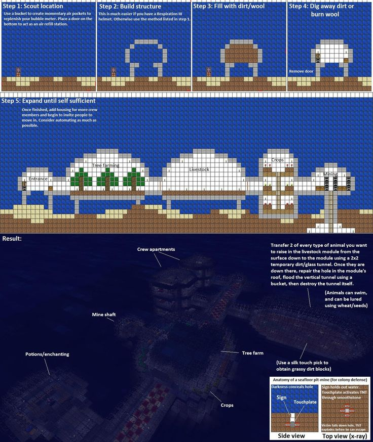 Minecraft underwater building guide conners lego for Minecraft base blueprints