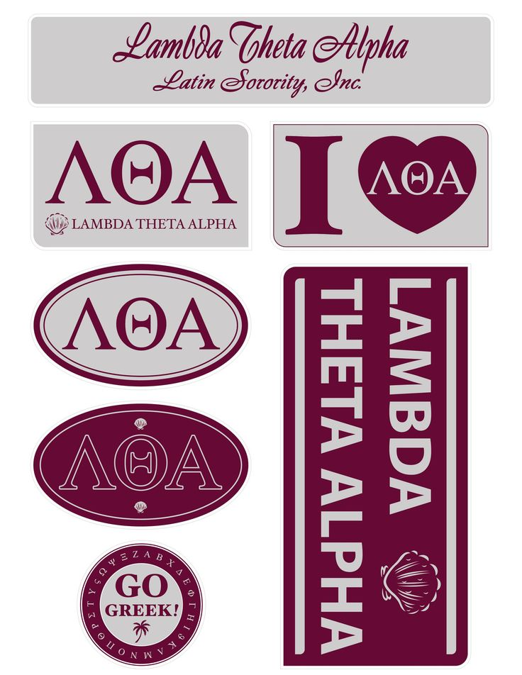 """Get your """"Greek On"""" with these high quality, lifestyle stickers! Each sheet contains 7 stickers ranging in size from a 2"""" circle to a generous 6.5""""x3"""" rectangle. Printed on sturdy vinyl, they are easi"""