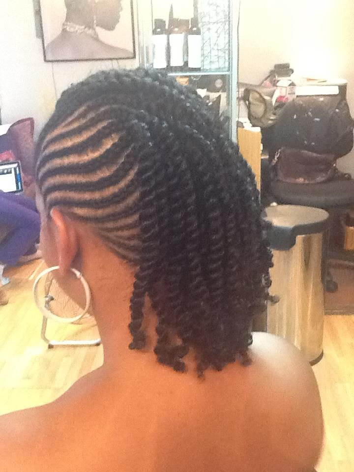 Cornrows into two strand twists.