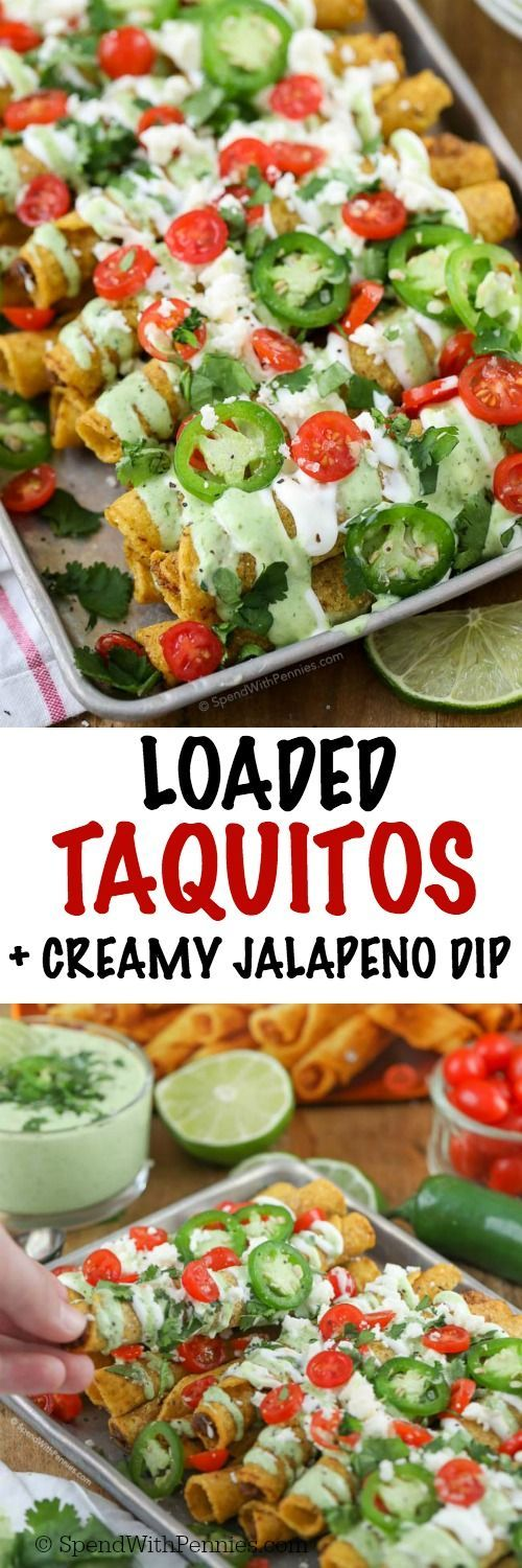 This delicious Creamy Jalapeno Dip recipe pairs perfectly with the authentic flavor of fully loaded taquitos! Whether it's game day or taco Tuesday, everyone is going to love this quick and easy appetizer with a delicious mild jalapeno dip! #ad #JustSayOle