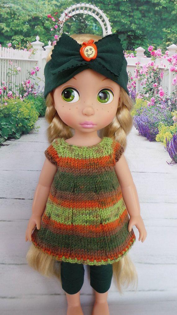 """hecho a mano equipo de animadores de Disney 15"""" muñeca - vestido, pañuelo y polainas en verde multicolor"""
