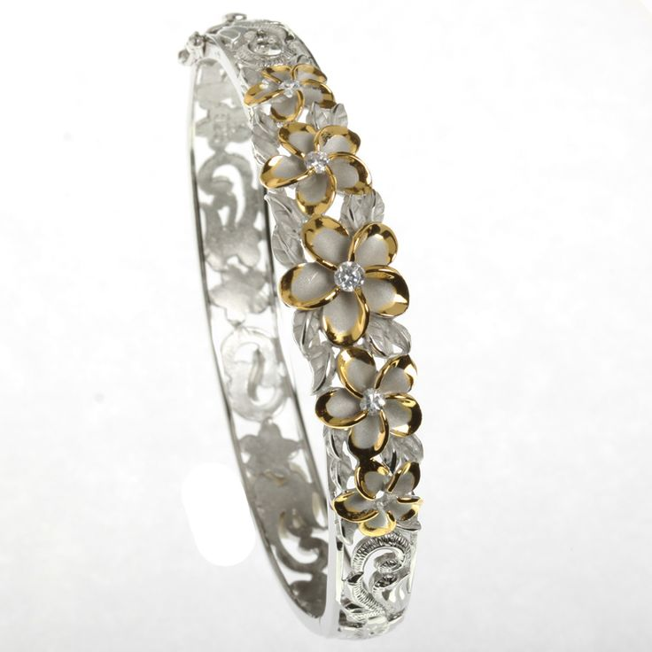 Hawaiian Jewelry | Hawaiian Jewelry 10-15mm 5 Plumeria Rhodium Bangle YG - Makani Hawaii ...