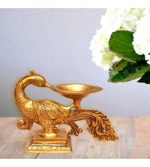 Peacock Diya In Brass