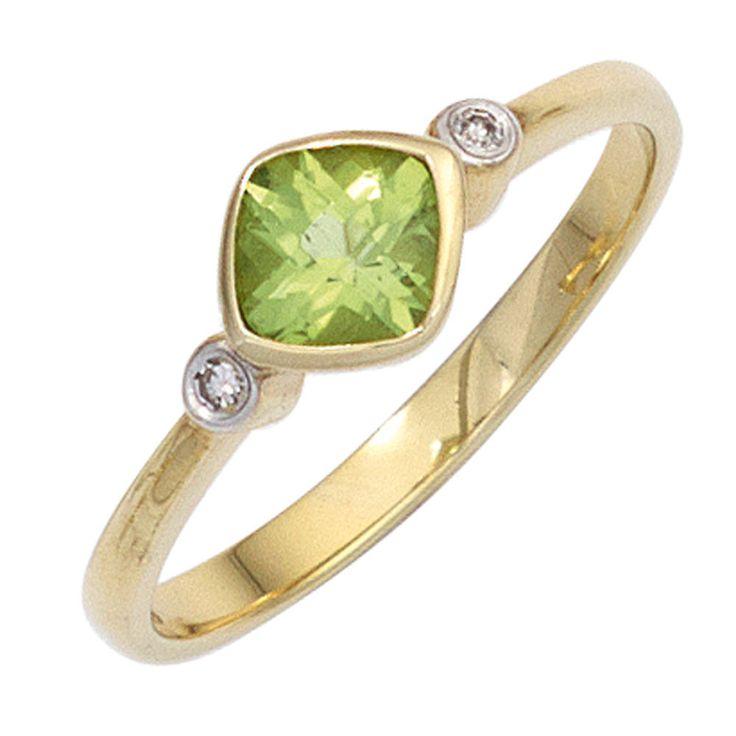 Damen Ring 333 Gold Gelbgold 1 Peridot grün 2 Diamanten 0,02ct. Goldring http://cgi.ebay.de/ws/eBayISAPI.dll?ViewItem&item=161959488373&ssPageName=STRK:MESE:IT