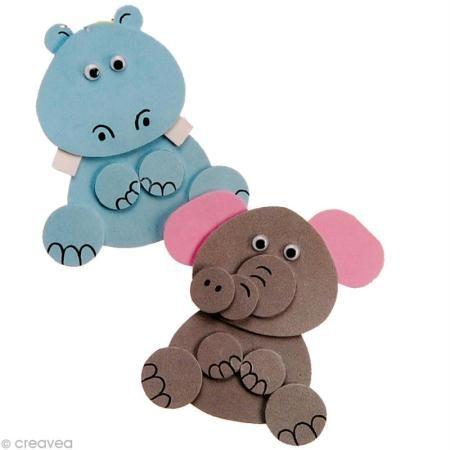 Kit Foamies - Animaux en carton mousse - Eléphant et hippopotame - Photo n°2