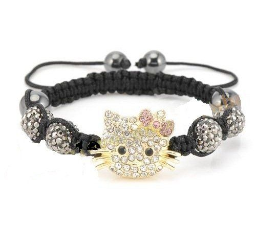 Hello Kitty Inspired Shamballa Bracelet in Gray AMR Collection. $29.75. The central Hello Kitty inspired piece is decorated with crystals.. This Shamballa bracelet showcases 4 gray pave crystal balls and 4 Magnetite Beads.. Closure: Adjustable strand.. Hello Kitty Inspired Shamballa Bracelet in Gray. The bracelet measures about 7 inches.