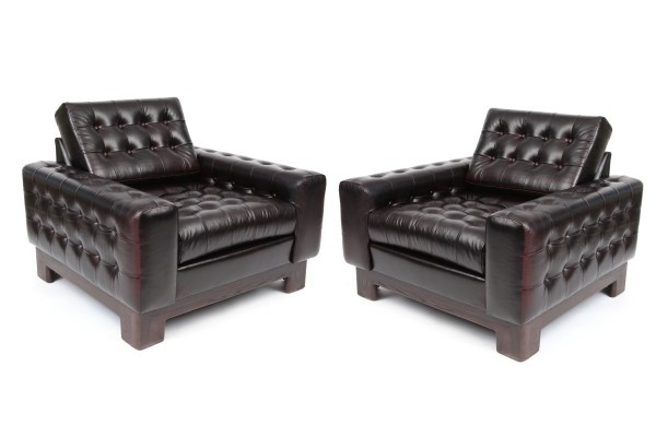 Chic Tufted Leather & Oak Lounge Chairs