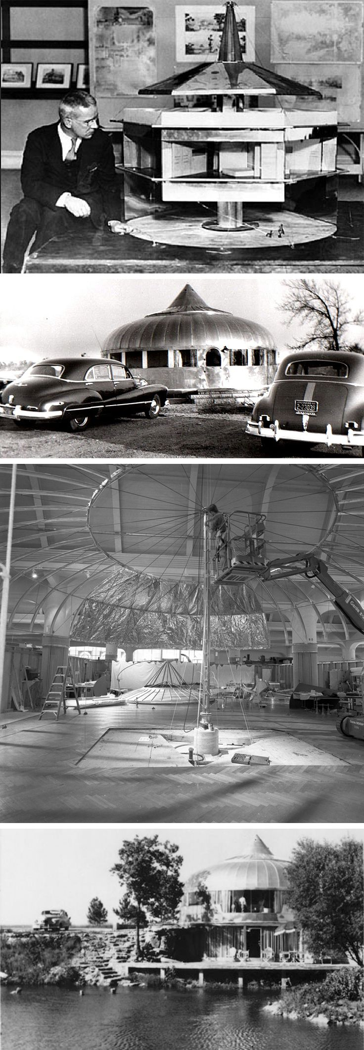 "R. Buckminster Fuller & his Dymaxion house: a self-contained marvel, factory assembled using aluminum components and intended for air delivery to any location on the globe. Two Dymaxion houses were prototyped – one indoor (the ""Barwise"" house) and one outdoor (the ""Danbury"" house). No Dymaxion house built according to Fuller's intentions was ever constructed and lived in."