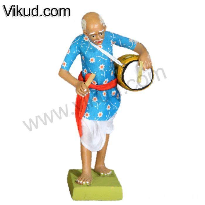 Terracotta-Rajasthani Old Man Playing Maddalam Doll- (6 Inches)