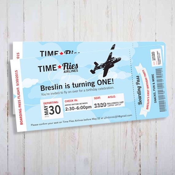 Printable Vintage Airplane Invitation - Plane ticket Time Flies Airline boarding pass little man invite babies first birthday invite by FoxyTot on Etsy https://www.etsy.com/listing/236536410/printable-vintage-airplane-invitation