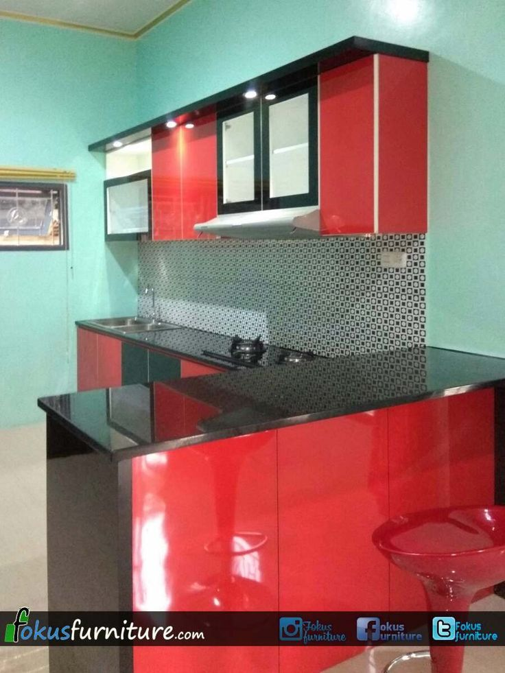 Kitchen set merah hitam