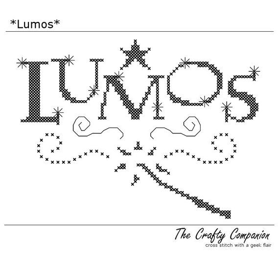 Lumos - Harry Potter Inspired PDF Cross Stitch Pattern - INSTANT DOWNLOAD