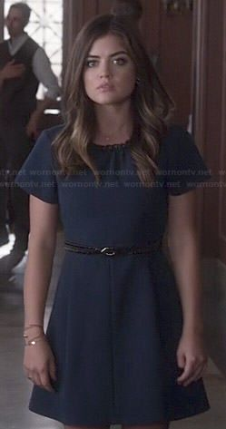 Aria's blue short sleeve dress with leather neckline on Pretty Little Liars.  Outfit Details: http://wornontv.net/46684/ #PLL