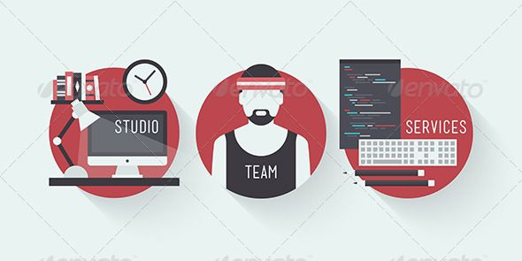 Studio Design Services Flat Icons  #GraphicRiver         Flat design vector illustration icons set of modern web studio workplace, designer team concept and web page programming and coding with workflow objects. Isolated on stylish colored background                     Created: 11 December 13                    Graphics Files Included:   JPG Image #Vector EPS                   High Resolution:   Yes                   Layered:   No                   Minimum Adobe CS Version:   CS…