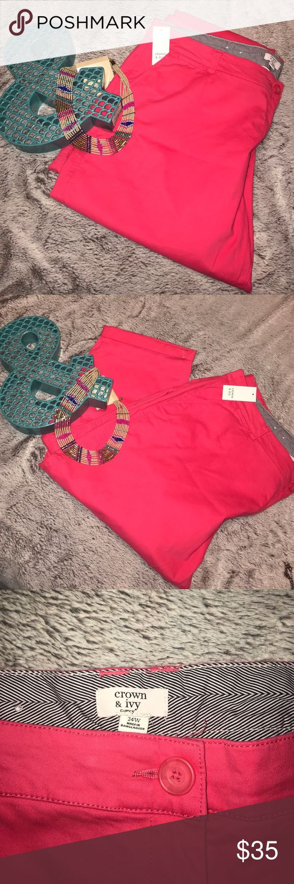 Crown & Ivy Pink Capris NWT. Gorgeous and vibrant hot pink. These are so incredibly soft! crown & ivy Pants Capris