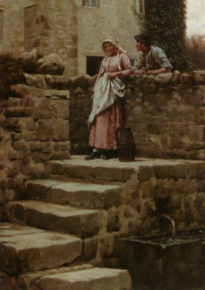"""Edmund Blair Leighton (1852-1922) Sweethearts Oil On Panel -1892 28 x 21 cm (11.02"""" x 8.27"""")"""
