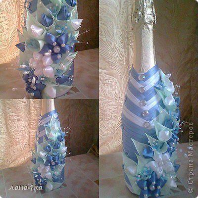 Поделка изделие 8 марта Цумами Канзаши украшение бутылок Ленты фото 7