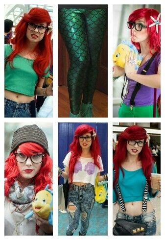Hipster Ariel. Take a little inspiration (I mean, besides the hair and glasses) from each costume and create. :)