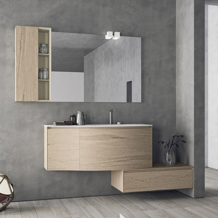 Composizione mobili bagno moderni sospesi calix novello - Composizione piastrelle bagno ...