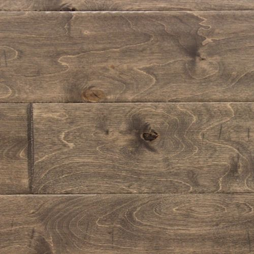 """Replace the carpet with this handscaped birch engineered wood flooring  from Boulder Creek COBI95GF Gray Fog 3/8"""" .  This would complement the existing tile."""