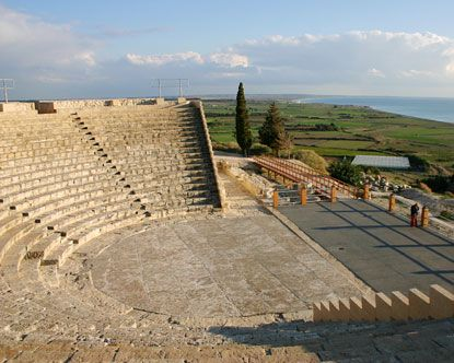 """Cyprus Lemesos """"Kourion Archaeologial Site"""" (Greco-Roman theatre). The magnificent Greco-Roman theatre was built in the 2nd century AD. Today the theatre has been completely restored and is used for musical and theatrical performances."""